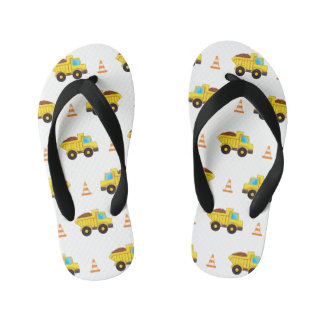 Construction trucks and traffic cones kid's flip flops