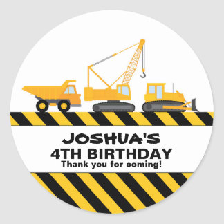 Construction Trucks Birthday Party Favor Sticker
