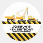 Construction Trucks Birthday Party Favour Sticker
