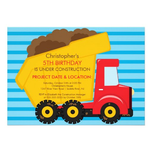 Construction trucks Birthday Party for boys Announcement