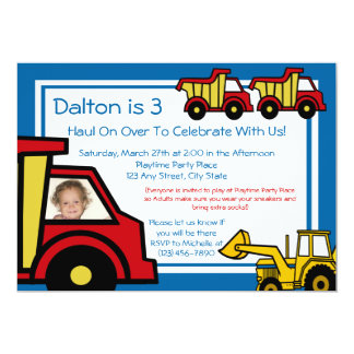 "Construction Trucks/ Photo 5"" X 7"" Invitation Card"