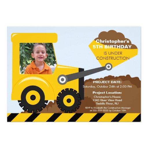 Construction trucks Photo Birthday Party for boys Custom Invitation