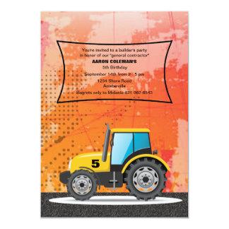 "Construction Vehicle Invitation 5"" X 7"" Invitation Card"