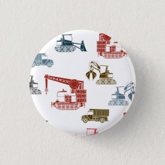 Construction Vehicle Pattern 1 Inch Round Button