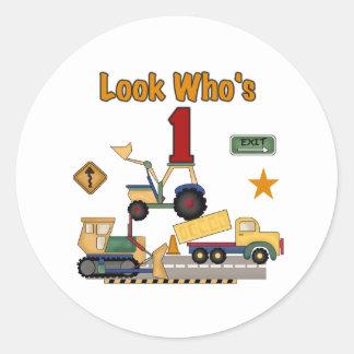 Construction Vehicles 1st Birthday Round Sticker