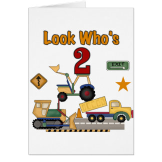 Construction Vehicles 2nd Birthday Card