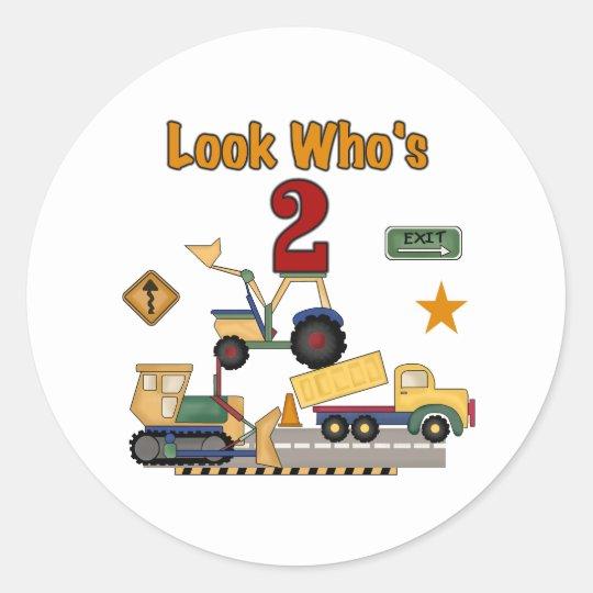 Construction Vehicles 2nd Birthday Classic Round Sticker