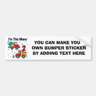 Construction Vehicles 2nd Birthday Gifts Bumper Sticker