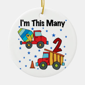 Construction Vehicles 2nd Birthday Gifts Round Ceramic Ornament