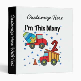 Construction Vehicles 2nd Birthday Gifts Vinyl Binders
