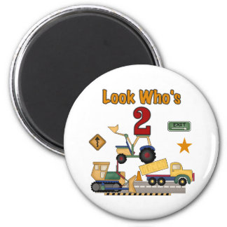 Construction Vehicles 2nd Birthday Magnet