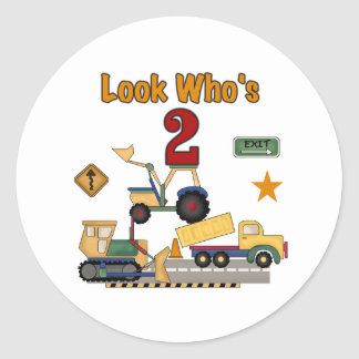 Construction Vehicles 2nd Birthday Round Sticker