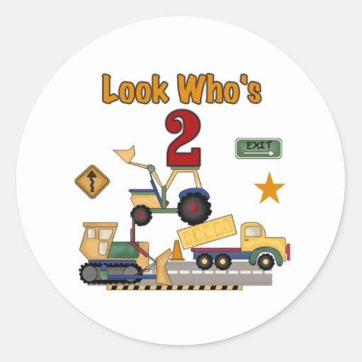 Construction Vehicles 2nd Birthday Sticker