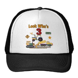 Construction Vehicles 3rd Birthday Tshirts Mesh Hat