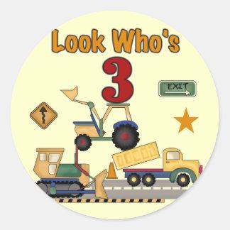 Construction Vehicles 3rd Birthday Tshirts Round Sticker