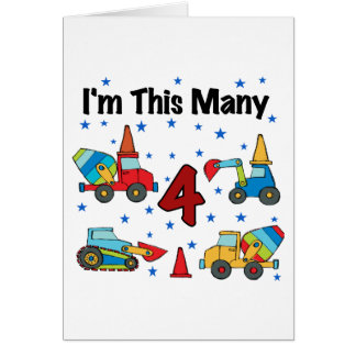 Construction Vehicles 4th Birthday T-shirts Greeting Card