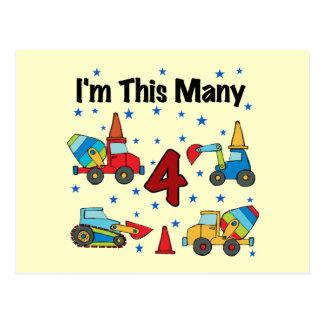 Construction Vehicles 4th Birthday T-shirts Postcard