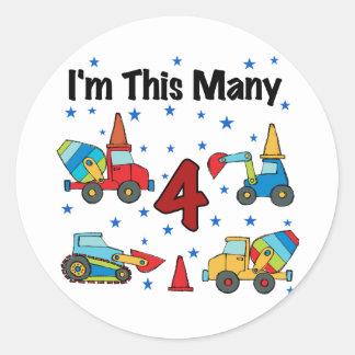 Construction Vehicles 4th Birthday T-shirts Round Sticker