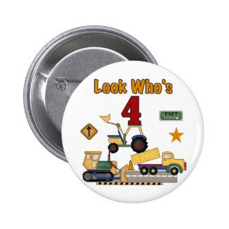 Construction Vehicles 4th Birthday Tshirts 2 Inch Round Button