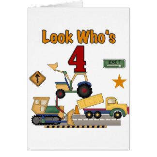 Construction Vehicles 4th Birthday Tshirts Card