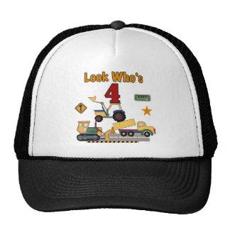 Construction Vehicles 4th Birthday Tshirts Trucker Hat