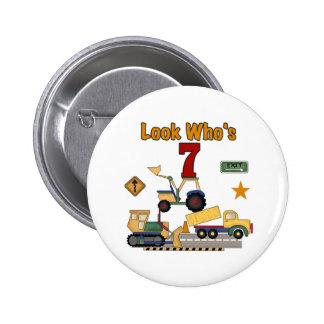 Construction Vehicles 7th Birthday 2 Inch Round Button