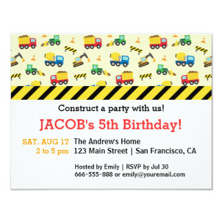"Construction Vehicles Pattern Birthday Party 4.25"" X 5.5"" Invitation Card"