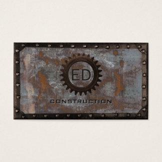 Construction Vintage Monogram Rusty Grunge Metal Business Card