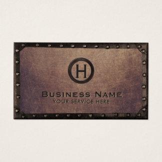 Construction Vintage Monogram Rusty Metal Framed Business Card