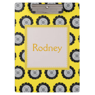 Construction Wheels Yellow background Clipboard