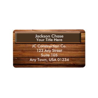 Construction Wood Grain Address Labels