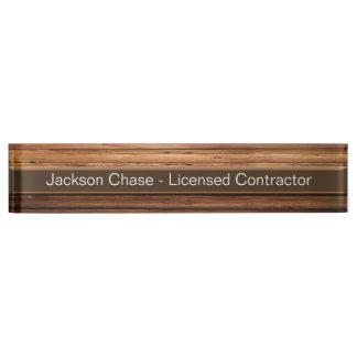 Construction Wood Grain Desk Nameplate