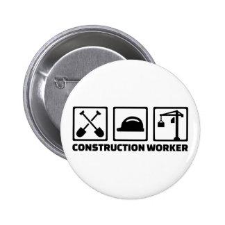 Construction worker 2 inch round button