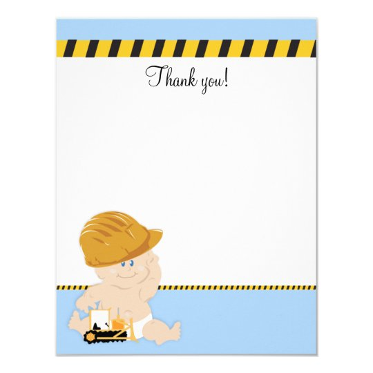 """Construction Worker Baby 4x5 Flat Thank you note 4.25"""" X 5.5"""" Invitation Card"""