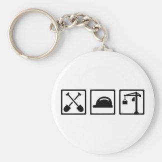 Construction worker basic round button keychain