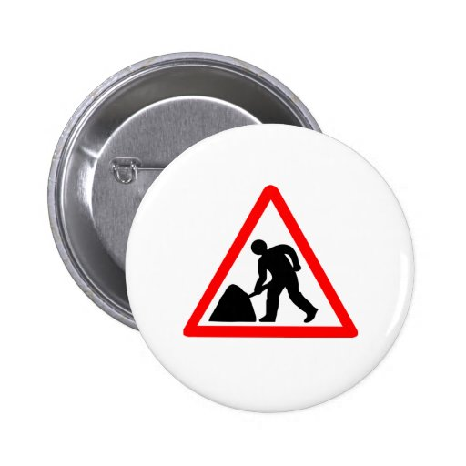 Construction Worker Pinback Button