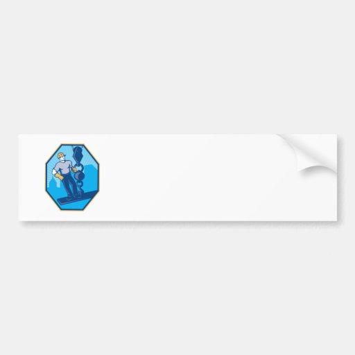 Construction Worker I-Beam Girder Ball Hook Bumper Sticker