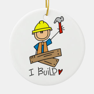 Construction Worker I Build T-shirts and Gifts Ceramic Ornament