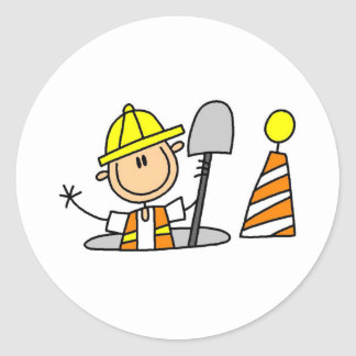 Construction Worker in Manhole Classic Round Sticker
