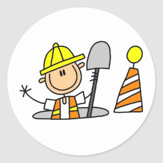 Construction Worker in Manhole Tshirts and Gifts Classic Round Sticker