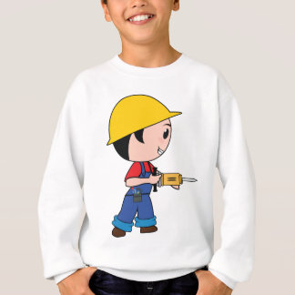 Construction Worker Jackhammer Helmet Building Sweatshirt