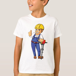 Construction Worker Jackhammer Helmet Building T-Shirt