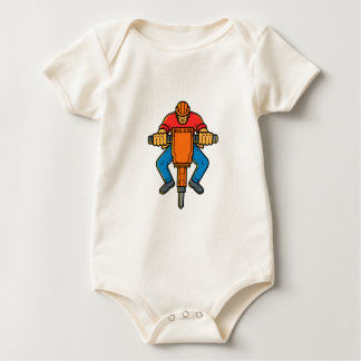 Construction Worker Jackhammer Mono Line Art Baby Bodysuit