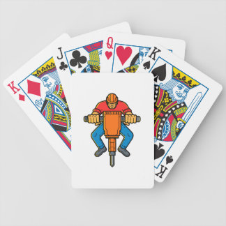Construction Worker Jackhammer Mono Line Art Bicycle Playing Cards