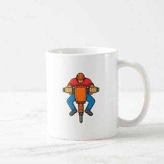 Construction Worker Jackhammer Mono Line Art Coffee Mug