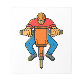 Construction Worker Jackhammer Mono Line Art Notepad