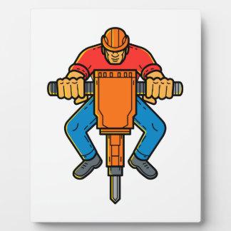 Construction Worker Jackhammer Mono Line Art Plaque