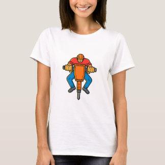 Construction Worker Jackhammer Mono Line Art T-Shirt