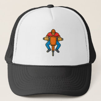 Construction Worker Jackhammer Mono Line Art Trucker Hat