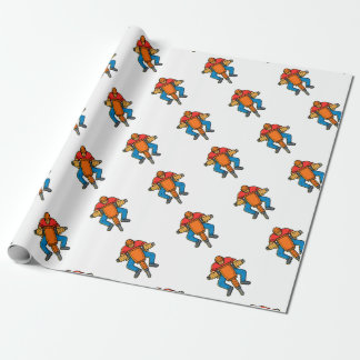 Construction Worker Jackhammer Mono Line Art Wrapping Paper